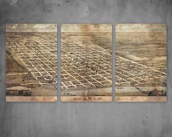 "Austin Texas METAL Map Triptych 60x30"" FREE SHIPPING"