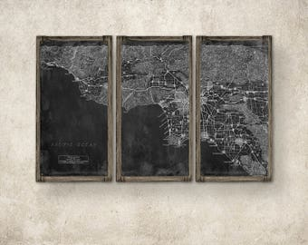 Los Angeles METAL Map on Barnwood Frame FREE SHIPPING