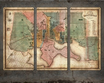 """Vintage Map of Baltimore METAL Triptych 54x36"""" FREE SHIPPING"""