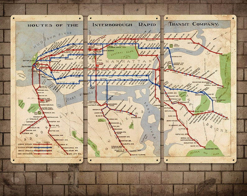 Old Ny Subway Map.Vintage Map Of New York Subway Metal Triptych 36x24 Free Shipping