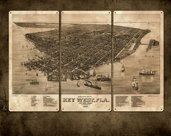 """Vintage Map of Key West Florida METAL Triptych 36x24"""" FREE SHIPPING"""