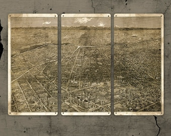 """Vintage Map of Denver METAL Triptych 36x24"""" FREE SHIPPING"""