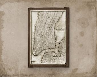 New York Manhattan METAL Map Framed FREE SHIPPING