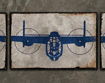 "B-24 Liberator Bomber METAL Triptych 52x11"" FREE Shipping"