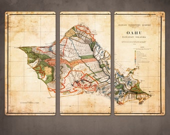 """Old Map of Oahu Hawaii METAL triptych 36x24"""" FREE SHIPPING"""