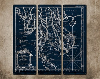 """Vintage map of Thailand Siam METAL triptych 24x24"""" FREE SHIPPING"""