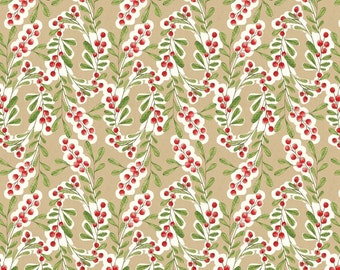 Much Joy in Beige from Merry Stitches by Cori Dantini for Blend Fabrics