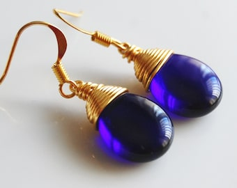 Cobalt Blue Earrings , Royal Blue Earrings , Blue Gold Earrings , Wire Wrapped Dangle Earrings
