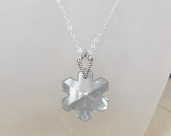 Snowflake Crystal Necklace , Swarovski Snowflake Pendant , Christmas Gift , Holiday Necklace