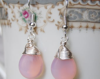 Light Pink Earrings , Pink Silver Earrings , Milky Pink Earrings , Wire Wrapped Dangle Earrings