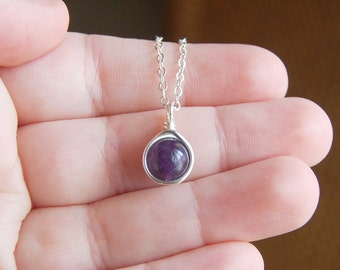 Amethyst Necklace , February Birthstone Necklace , Gemstone Necklace , Bridesmaids Necklace