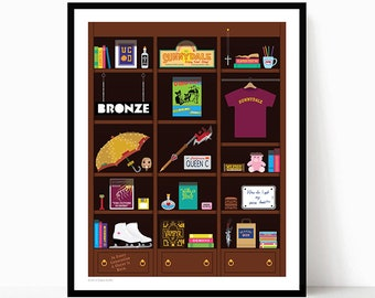 Art Print: Buffy Bookcase - Buffy The Vampire Slayer