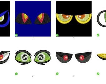 Eyes Halloween Set of 8 Digitized Machine Embroidery Design
