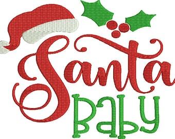 Santa Baby Saying Machine Embroidery Design Christmas Winter