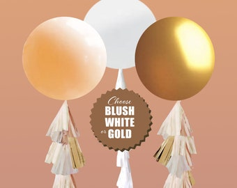 Gold Gender Reveal Balloon with Confetti and Tassel, Gold, Blush, Tan, Ivory White Balloon Gender Ideas, Modern Gender Reveal Balloon Kit