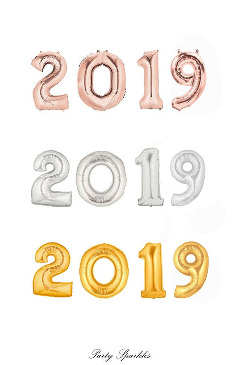 d0f6d59d8df6 2019 Balloons in Gold 2019 Rose Gold Balloons 2019 Silver