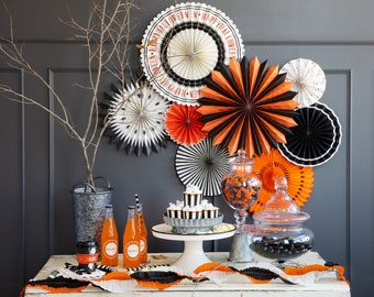 Halloween Fans Vintage backdrop Rosettes, Pumpkin Halloween Decor, Black and Orange striped party decorations with stripes