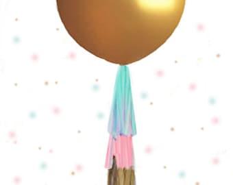 Gender Reveal Balloon GOLD, Gender Reveal Balloon with Tassel, Gender Reveal Balloon Kit,  Gender Reveal Confetti Balloon, Gender Reveal