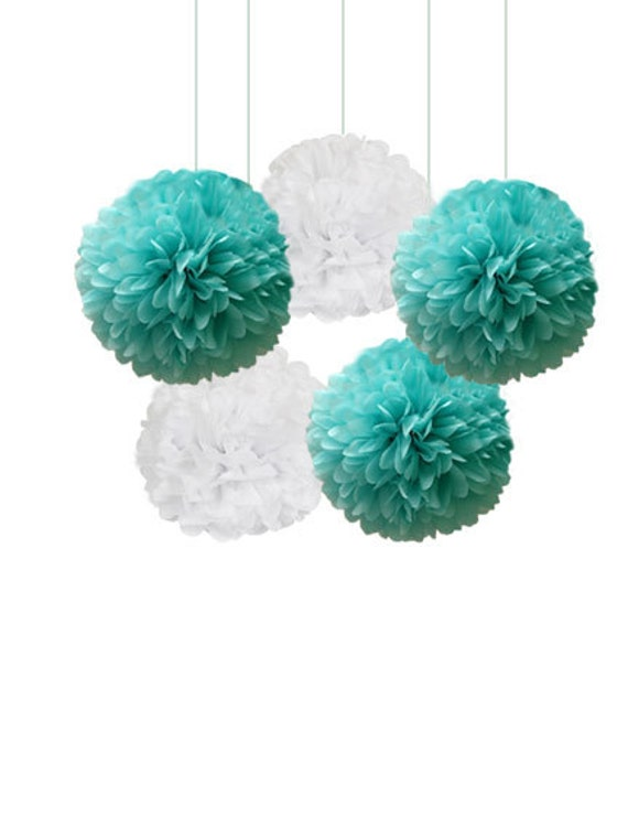 Tiffany Blue And White Tissue Paper Pom Poms 5 Piece Set
