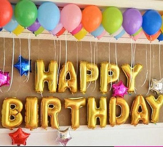 SALE Gold Happy Birthday Foil Balloons Jumbo Rose
