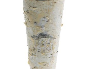 "Birch Bark Vase Tall Rustic 9"" Vase Wood Wrapped Planter Wedding Centerpiece Birch and Zinc Flower Pot"