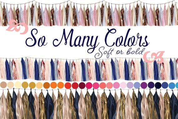 Grey Navy Blush wedding deco pick your colors Navy Tassel Garland Decorations Blush Pink Party Supplies in blush
