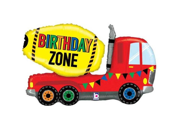 Construction cement truck 7 Inch Edible Image Cake /& Cupcake Toppers// Birthday