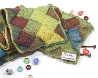 Women scarf, men scarf, entrelac knit scarf, gift for women, gift for men, gift for her, gift for him, gift for boyfriend, handmade scarf