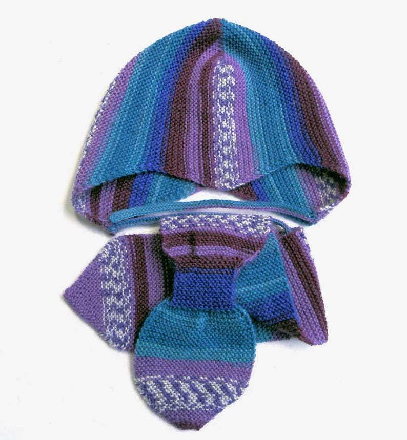 ecc5b933b Baby boy hat and scarf - baby girl hat and scarf - helmet hat - earflap hat  - knit helmet hat - blue hat - hat with stripes - winter knits