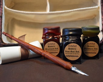 Historic writing kit - Cocobolo wood dip pen, 3 historic inks, and 1 scroll scrap in lined wicker basket