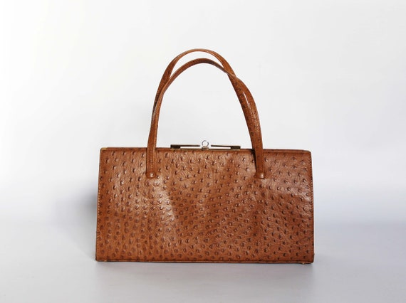 Authentic vintage real lizard leather 1950s handb… - image 2