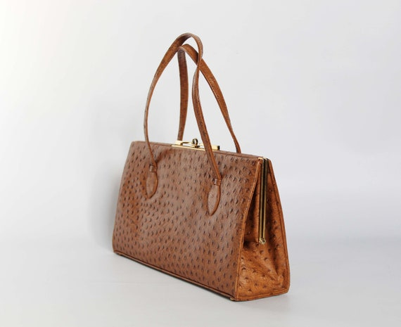 Authentic vintage real lizard leather 1950s handb… - image 3