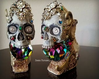 "Skull ""Catacomb Saint"" Jewel and Crystal Encrusted Wedges"