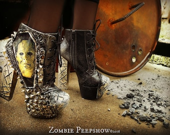 "Michael Myers ""Halloween"" Studded Ankle Boots Heels"