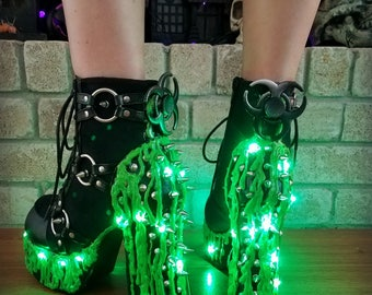 "Biohazard ""Toxic"" Spiked Slime Boots"