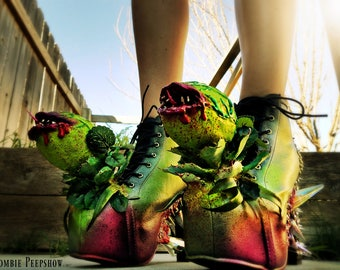 "Audrey II ""Feed Me"" Spiked Creature Boots"