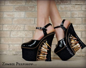 "Metal ""Heavy Artillery"" Extreme Bullet Heels *2 BASE SHOE OPTIONS*"