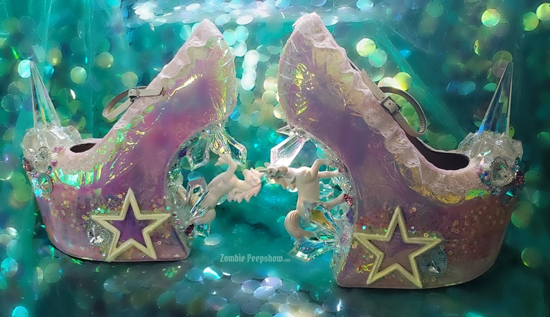8a5996a3f5c3 Kawaii Unicorn Crystal Spike Heelless Wedges