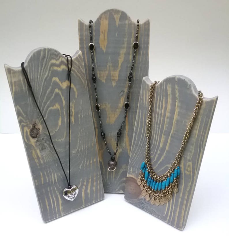 Set of 3 Necklace Stands Rustic Wood Necklace Display image 0