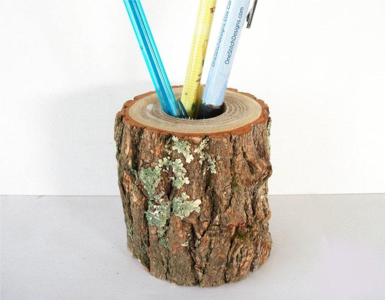 Rustic Wood Pencil Holder In Sassafras Log Office Decor Desk image 0