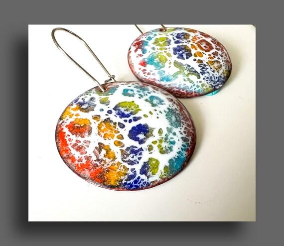 Copper Enamel Colorful Earrings