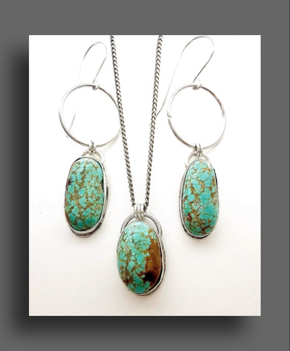 Sterling Silver and Turquoise Pendant and Earring Set