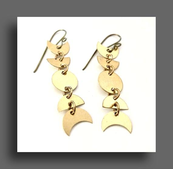 Brass Moonphase Earrings