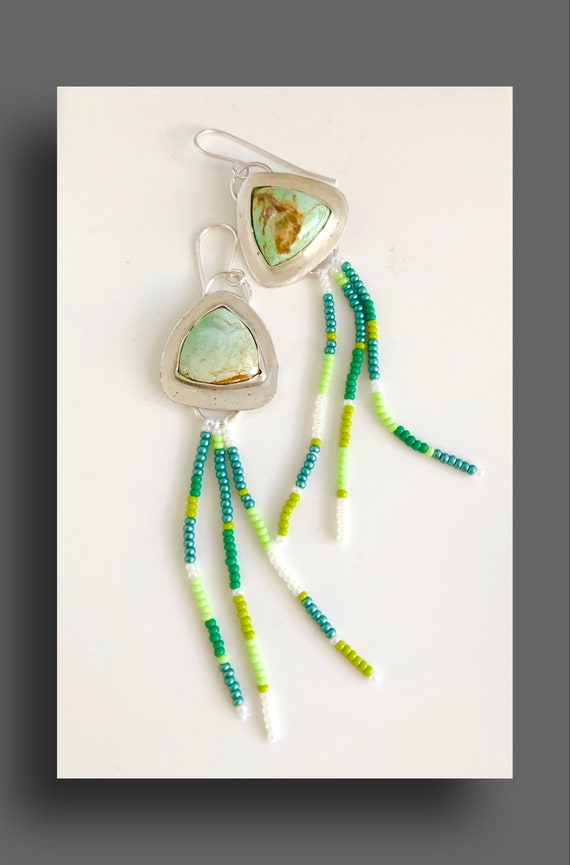 Varasite Stone Earrings Set in Silver with Dangling Czech Glass Beads