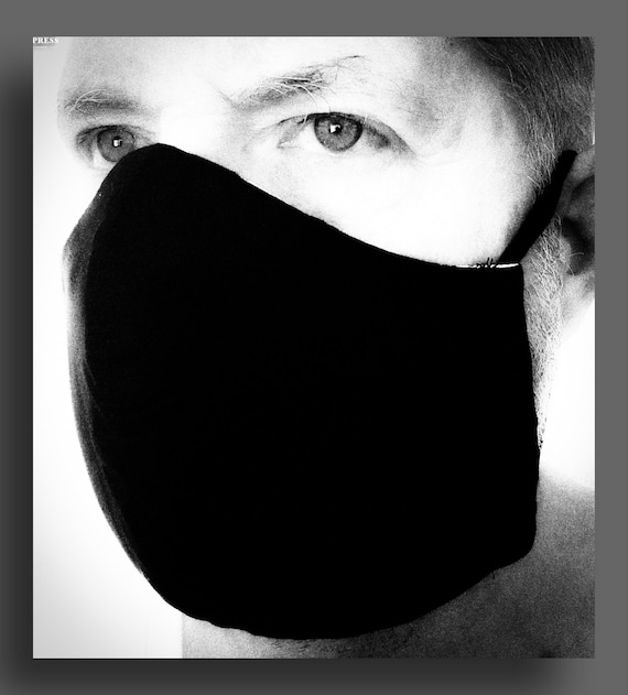 Solid Black 100% Cotton Triple Layer Mask in Sizes for Men and Women