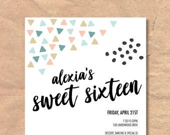 Printable Modern Sweet Sixteen Birthday Invitation
