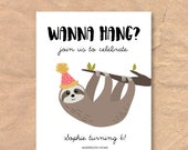 Sloth Birthday Invitation...