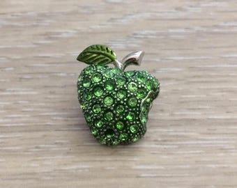 Rhinestone Apple Brooch, Apple, Fruit Brooch, Tie Tack, 25 mm