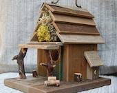 Rustic Birdhouse with Porch - Natural Barn Wood bird house birdhouse20