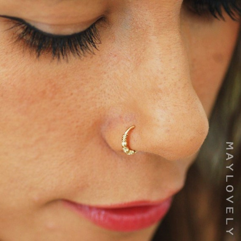 Nose Ring Hoop Gold Or Silver Nose Hoop Nose Piercing Tragus Etsy